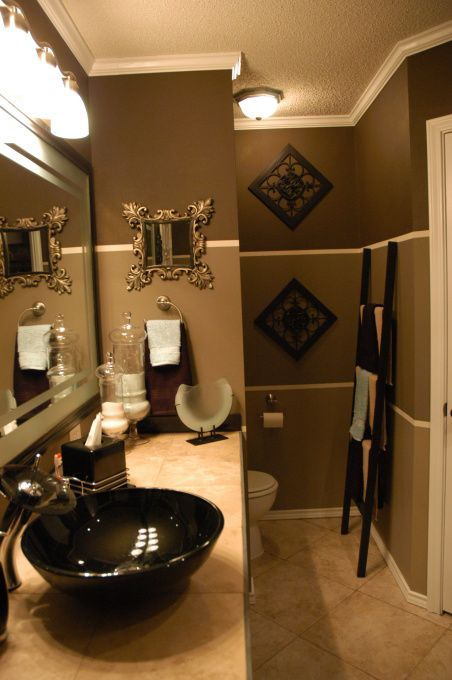 Gold paint color with white and seafoam tile bathroom for Green painted bathroom ideas