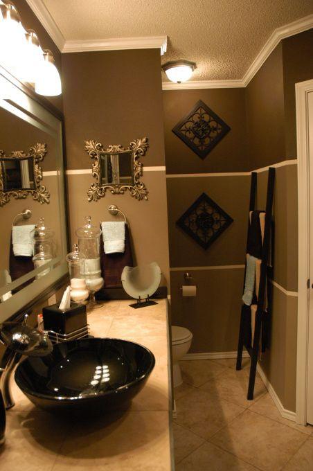 Budget Dramatic Remodel Brown Bathroom Decor Gold Bathroom