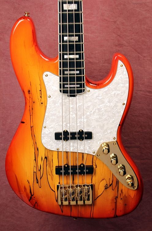 BASS MODS - K4VV Amber Burst with Spalted Top body / Bounded 21-fret Board / Aguilar Jazz Pickups and Bass Mods Preamp...