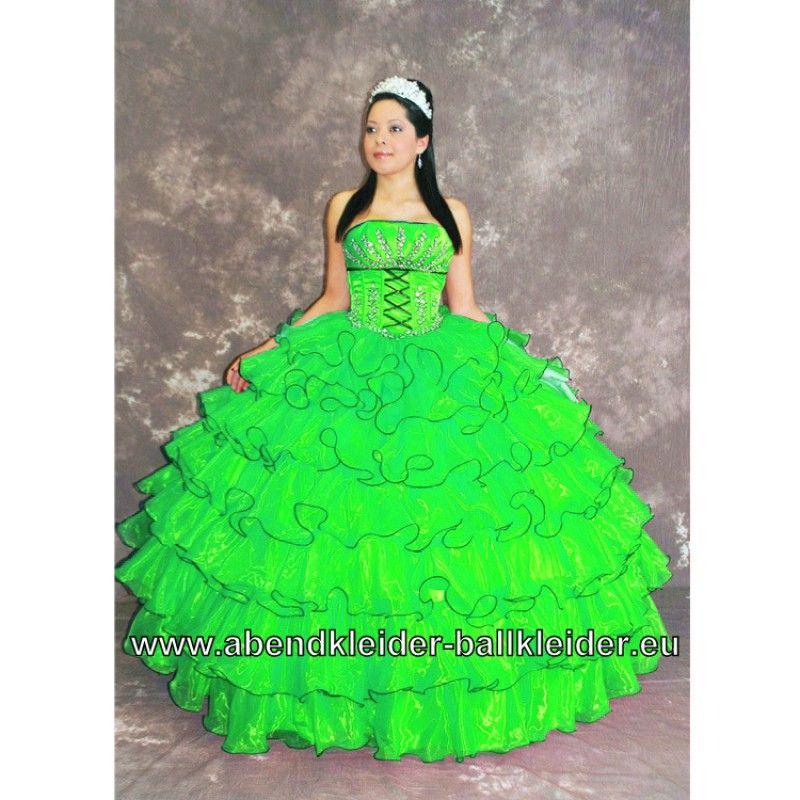 großer Verkauf 882c6 6cf9b Wolumen Kleid Neon Grünes Ballkleid mit Applikationen Weites ...