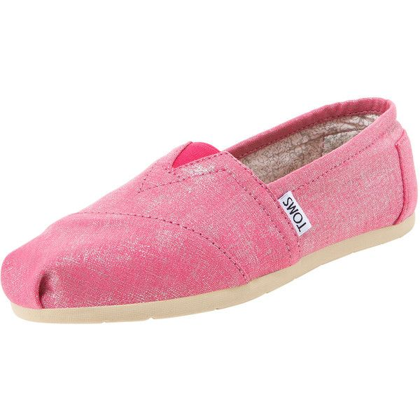 TOMS Shoes Collett Metallic Linen Slip-On ($85) ❤ liked on Polyvore