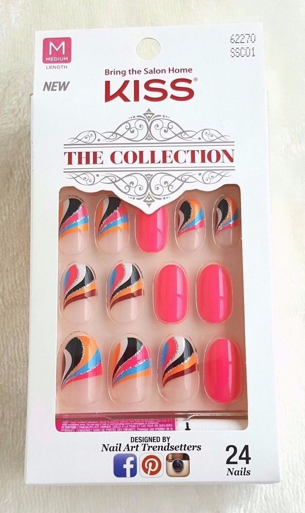 KISS The Collection 24 Glue-On Nails MEDIUM #62270 #Kiss | Salon ...