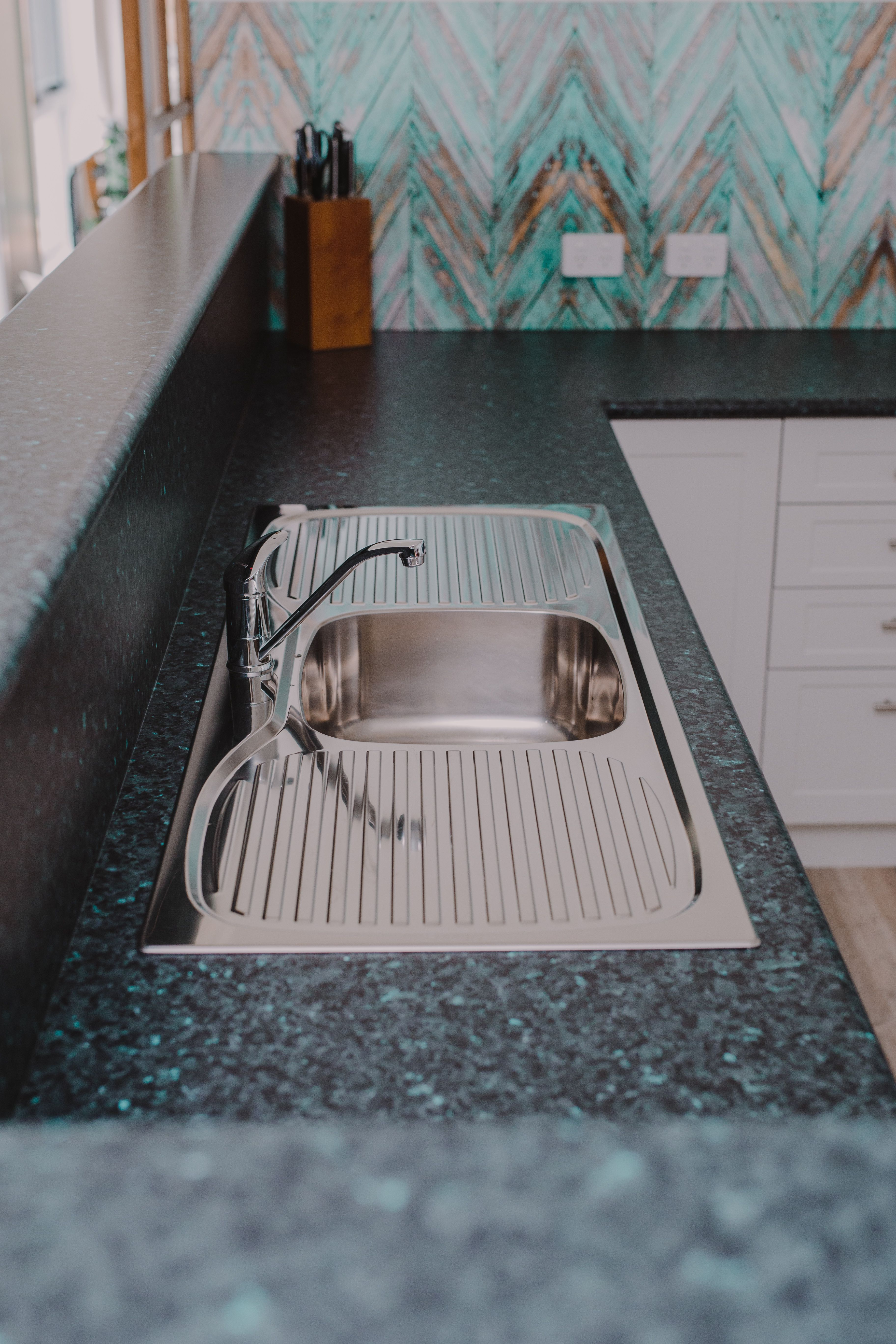This Laminex Blue Pearl Granite Goes Beautifully With This Top Mounted Sink Art Deco Kitchen Contemporary Kitchen Design Art Deco