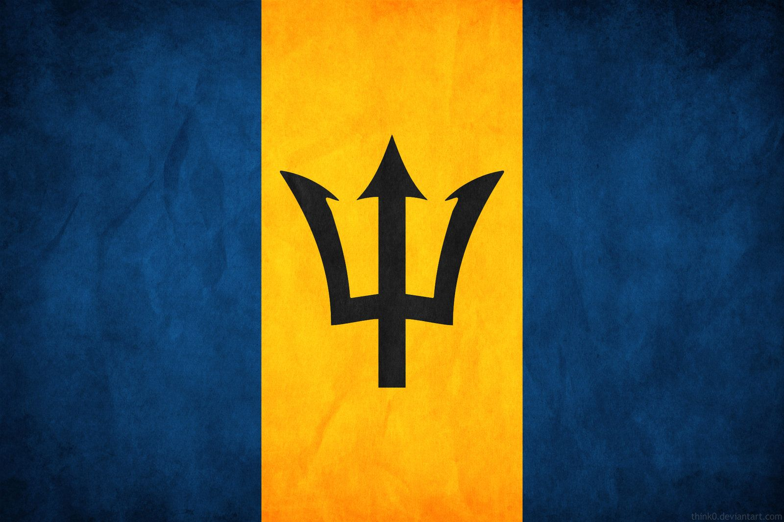 Blue Yellow Blue 3 Barbados Flag Flags Of The World Flag