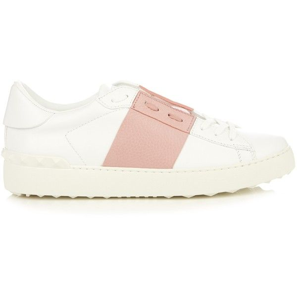 Valentino Colour-block low-top leather trainers (£560) ❤ liked on Polyvore featuring shoes, sneakers, pink, valentino shoes, leather shoes, pink sneakers, pointy shoes and genuine leather shoes