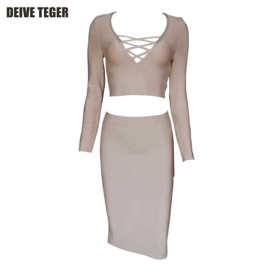 Fashion sexy hollow out piece set full bandage dress lady suit