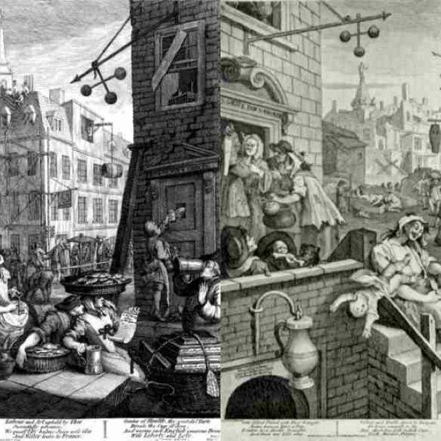 Beer Street And Gin Lane Political Propaganda Cartoon By Hogarth