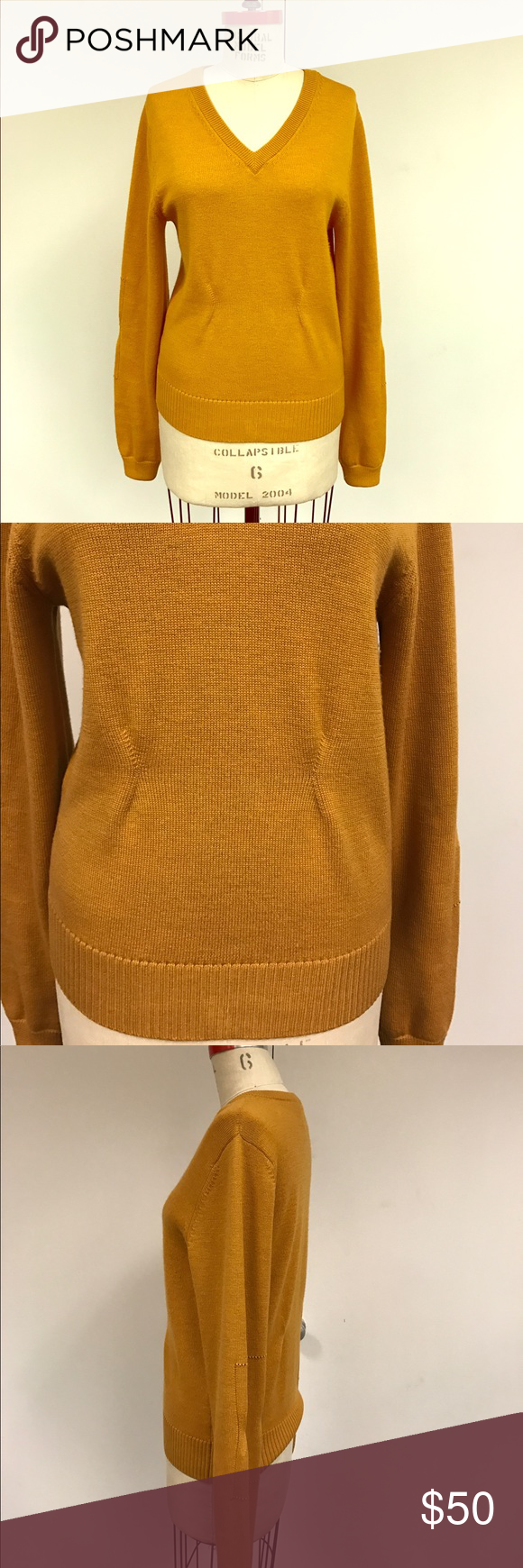Billy Reid mustard yellow pullover sweater v neck