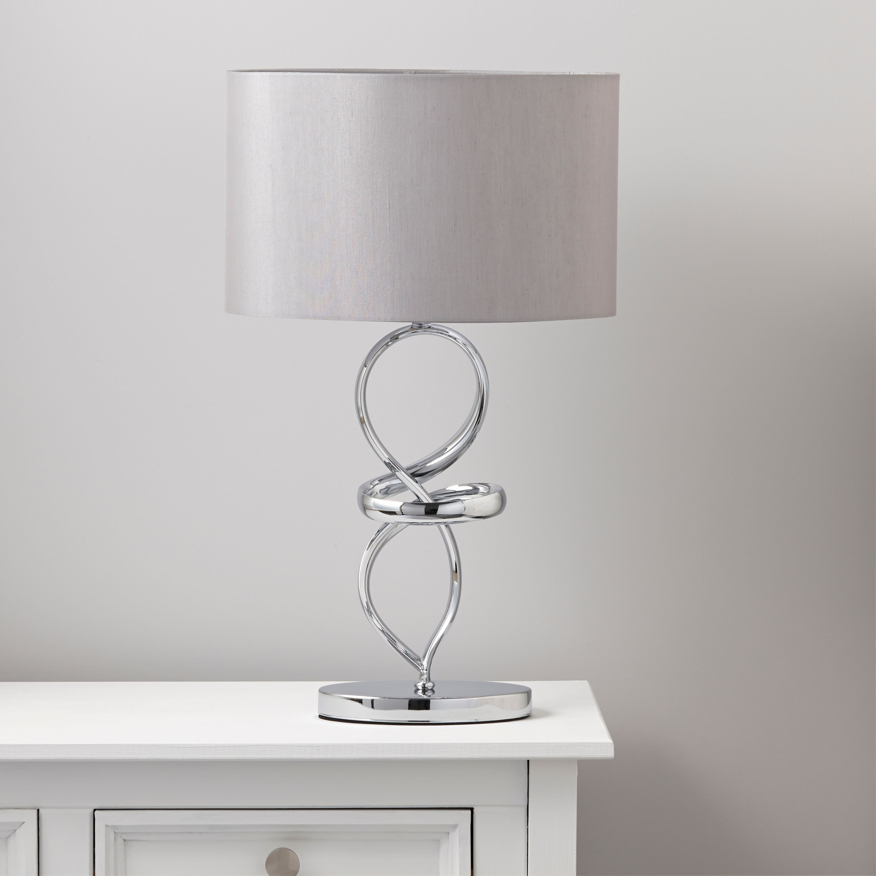 Hadwick Twisted Chrome Effect Table Lamp