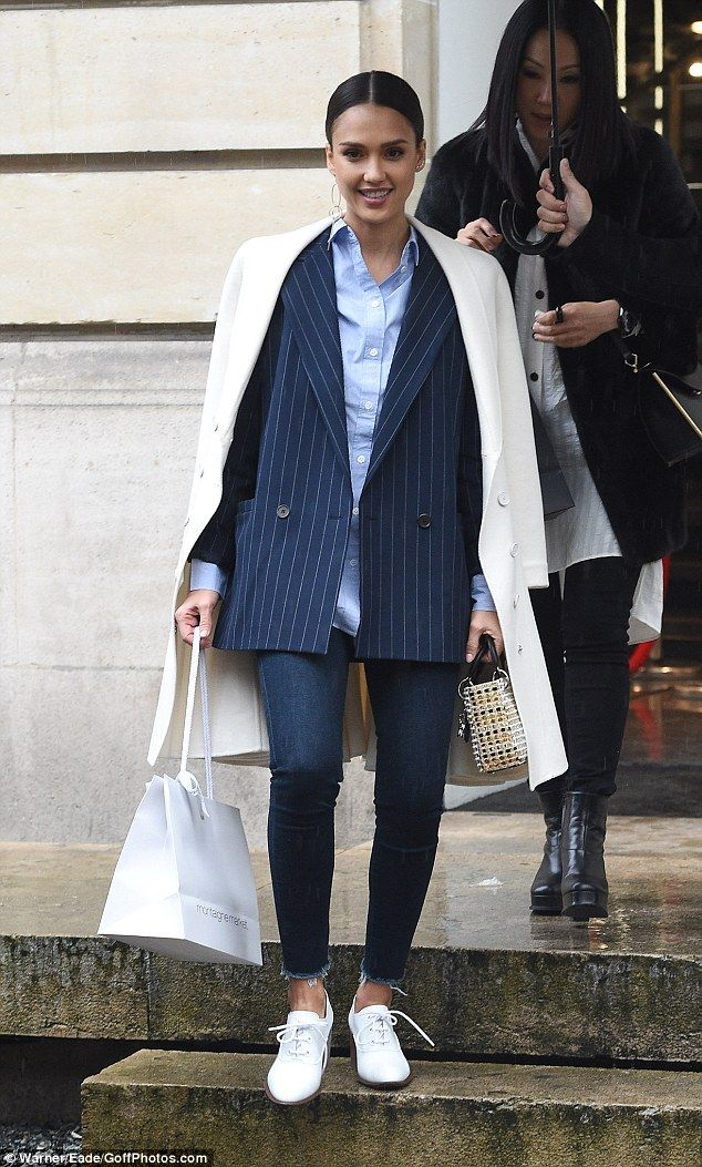 Photo of She means business! Jessica Alba goes for androgynous look in Paris