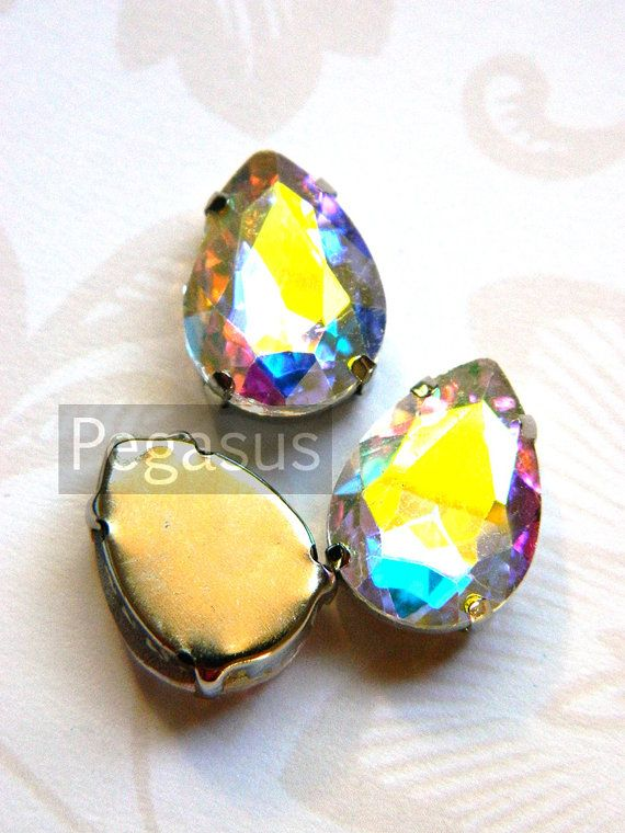 Aurora Borealis Glass crystal gems 3 Pieces Jewelry by pegasus22