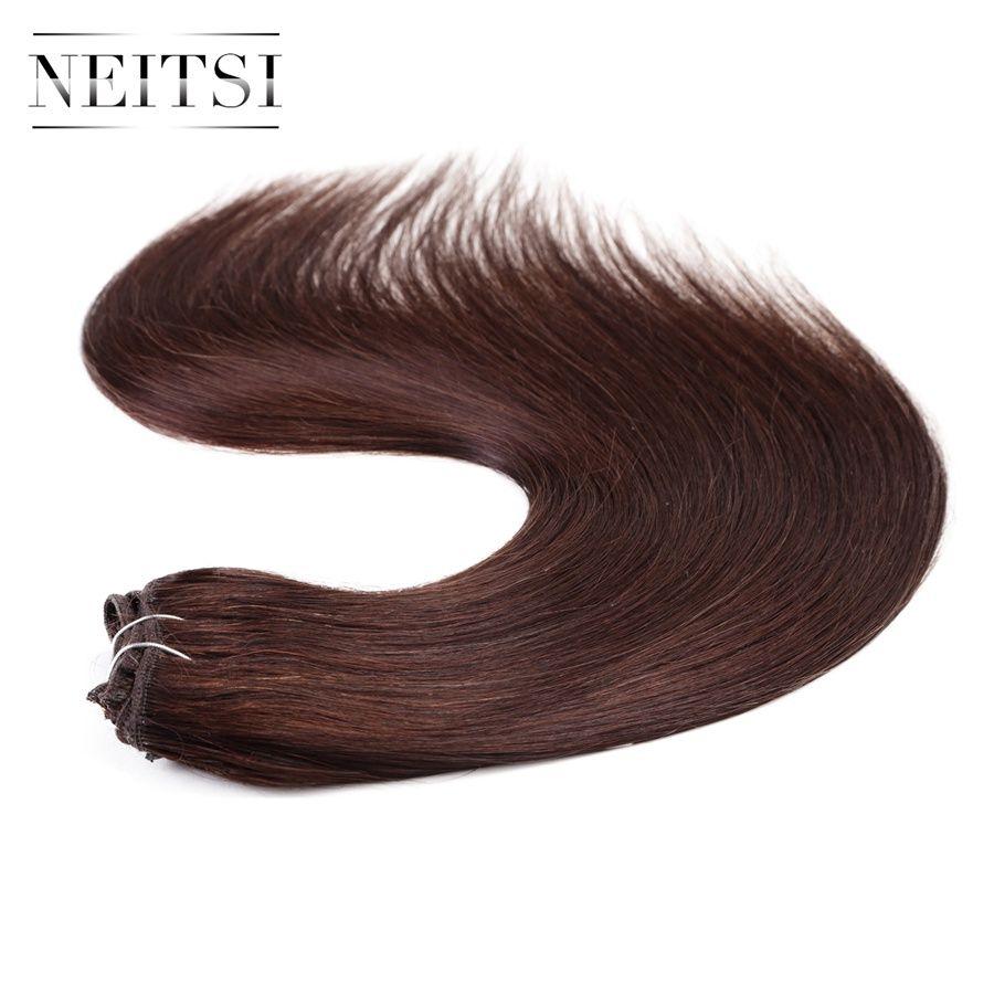 Neitsi straight brazilian clip in hair full head human hair