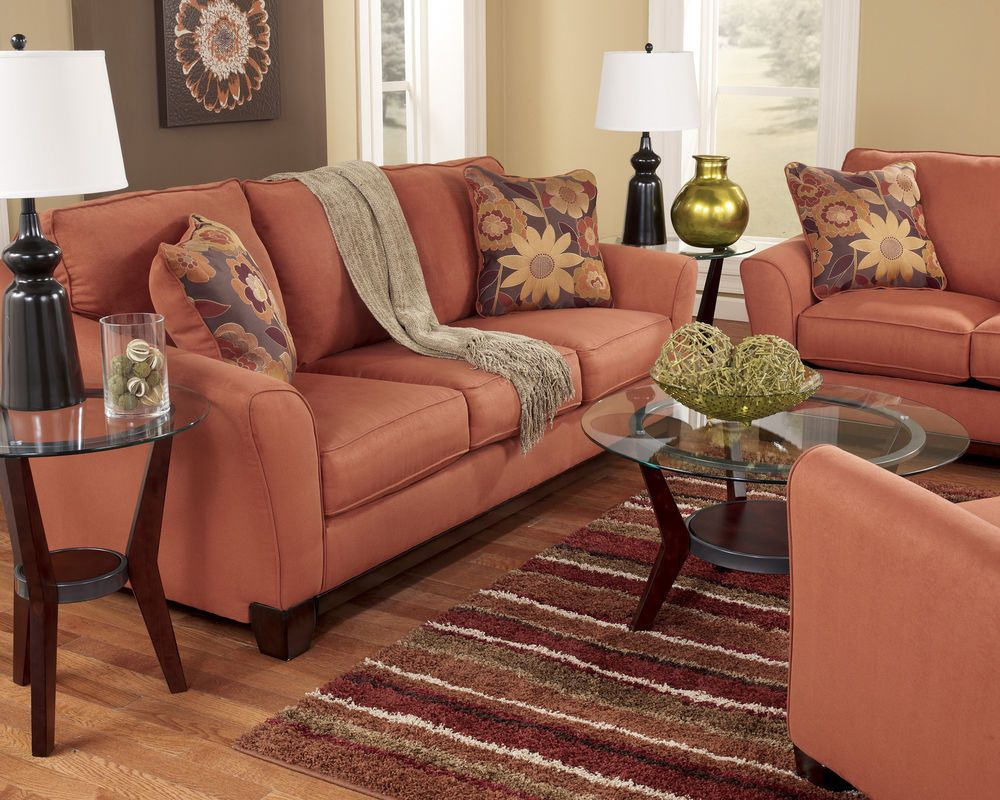 Russet Modern Contemporary Sofa Loveseat Set Couch Living Room Furniture Orange Sofa And Loveseat Set Furniture Contemporary Sofa