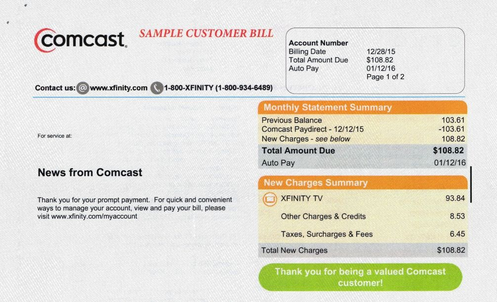 Comcast Bill Form Bill Template Templates Angel Prayers