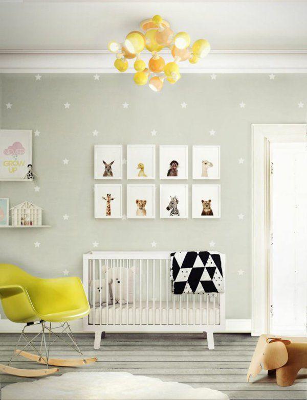 Erstaunlich Wandgestaltung Babyzimmer Bilder Gelber Schaukelstuhl Toller Leuchter