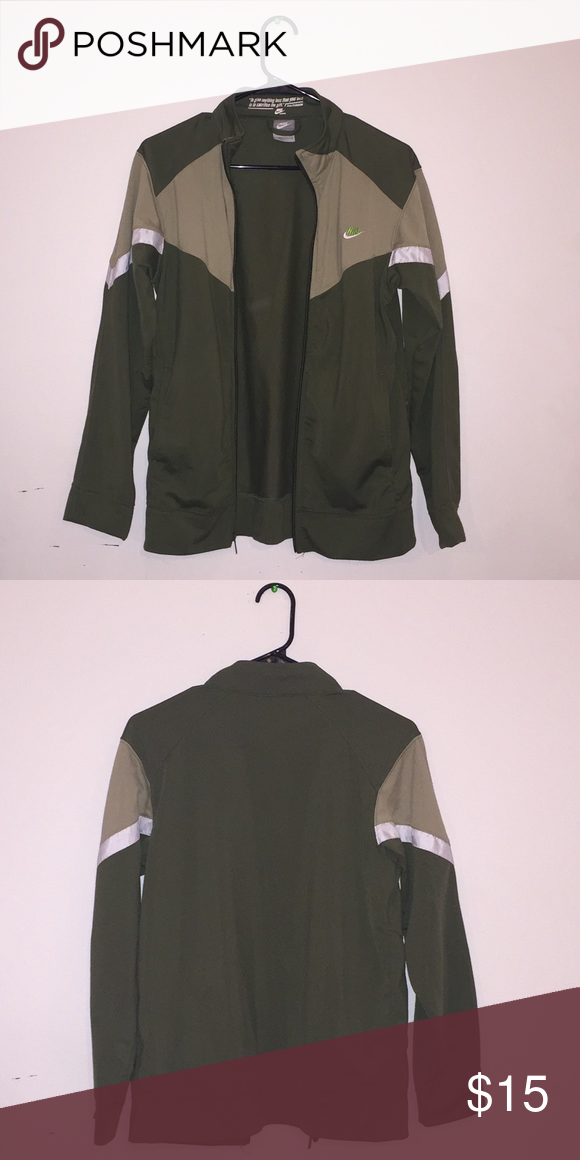 Nike army green zip up sweater Nike army green athletic sweater  says size  large but ee8a66139