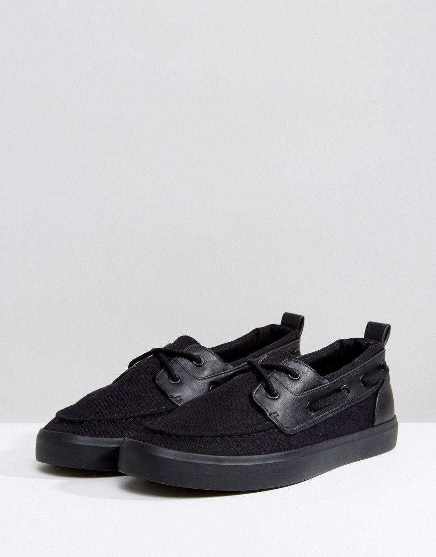 ASOS Wide Fit Boat Shoes In Black Canvas pictures sale online discount latest wNtz1Ip7h