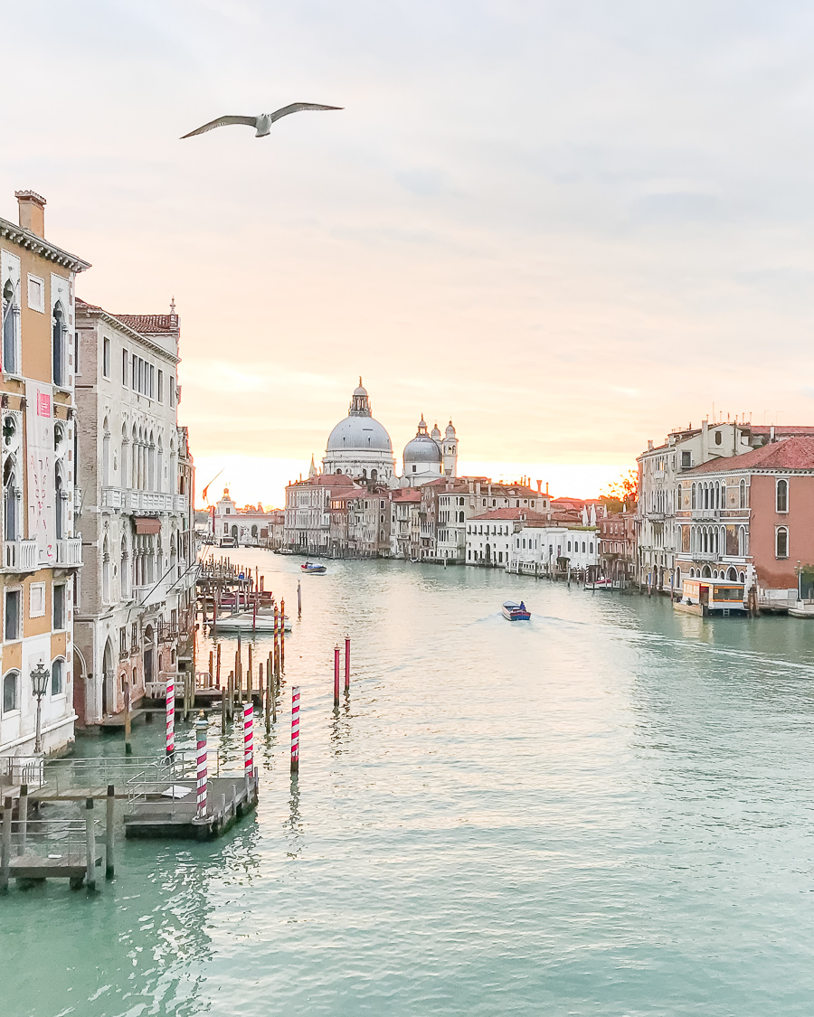 Travel tips for a romantic and less stressful trip to Venice. Pictures of the Grand Canal, gondolas and St Mark's Square included! Sunrise overlooking the Grand Canal in Venice, Italy. #venice #italy #europe #europetravel #travelguide