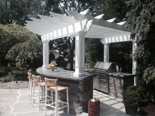 Small White Pergola Over Outdoor Bar And Kitchen White Pergola Pergola Outdoor Bar