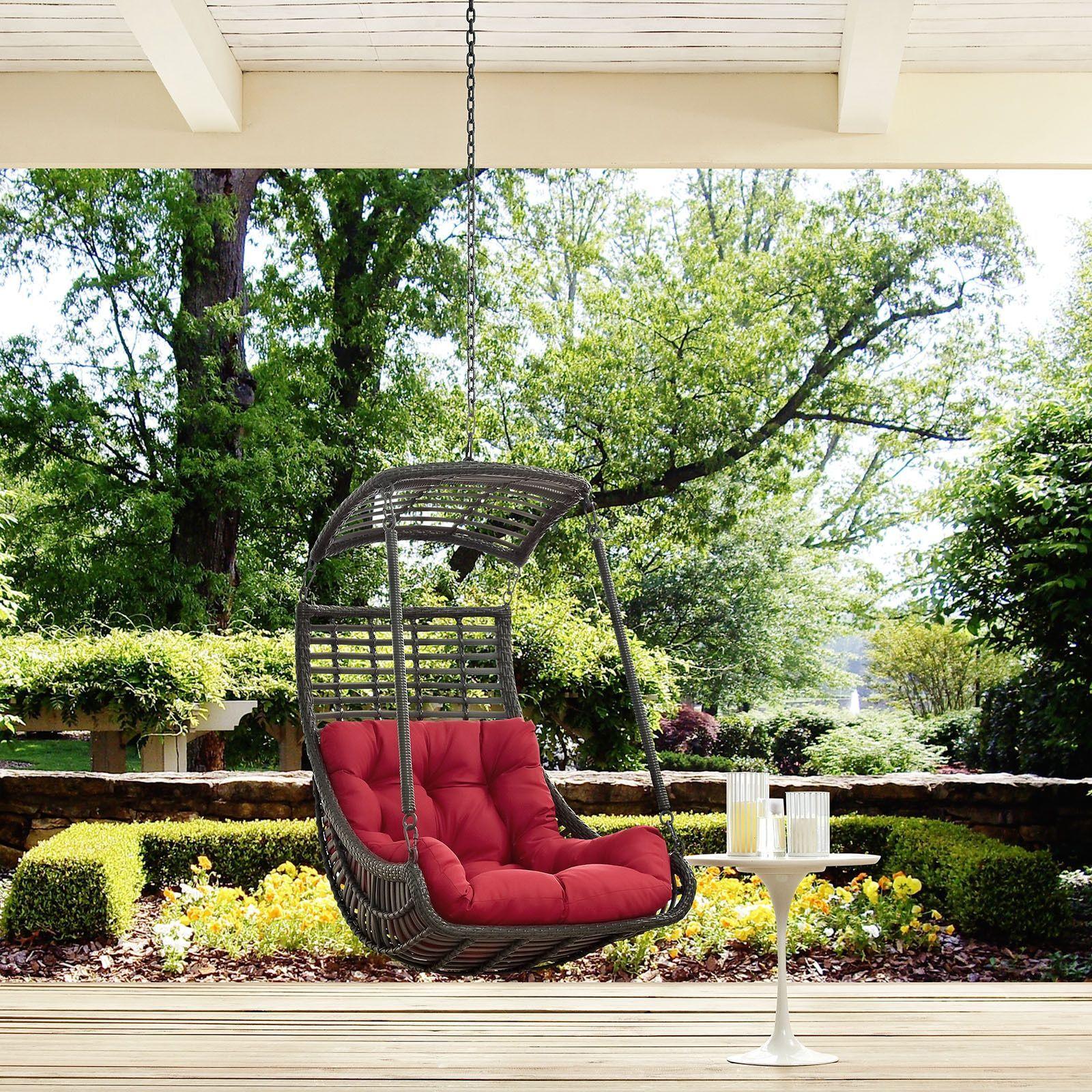 modway jungle steel outdoor hanging patio swing chair orange
