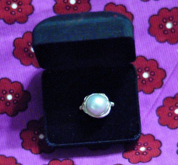 Pale Blue and Silver Wired Wrapped Ring Size 6 by LilyAnns on Etsy, $4.00