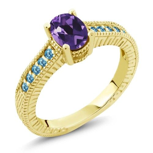 1.25 Ct Amethyst Swiss Blue Simulated Topaz 18K Yellow Gold Plated Silver Ring, Women's, Size: 9