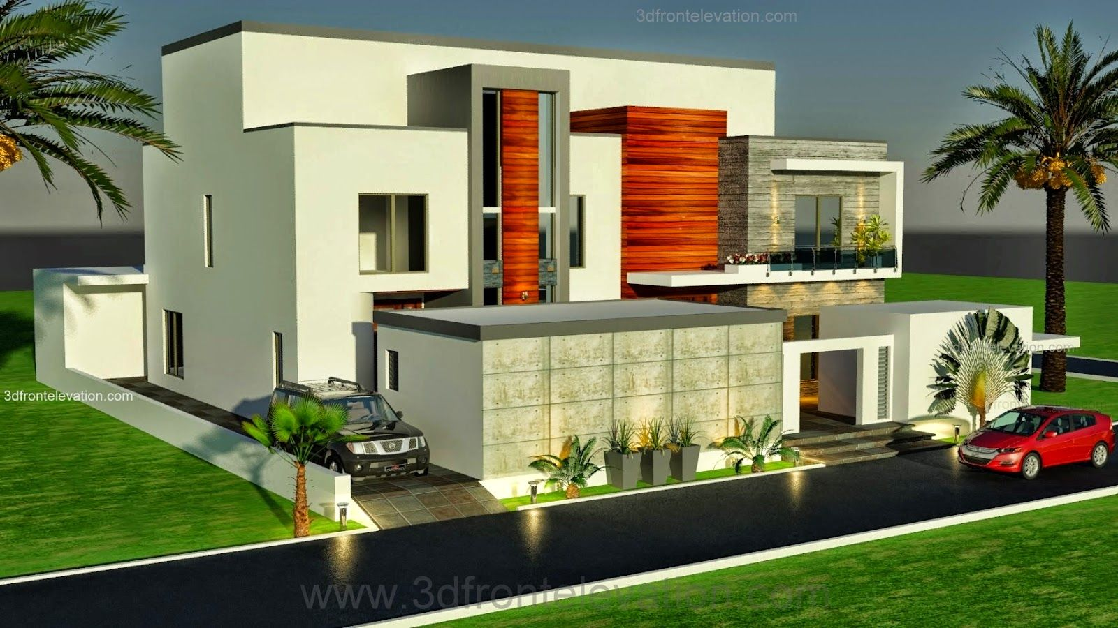 Dubai Arabian Modern Contemporary Beautiful House Design 3D Front