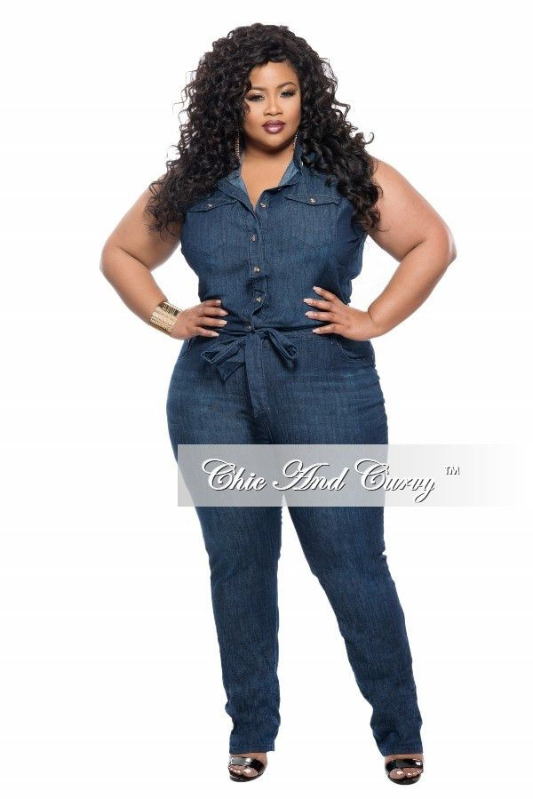 70de87927567 Plus Size Sleeveless Denim Jumpsuit with Tie – Chic And Curvy | Chic ...