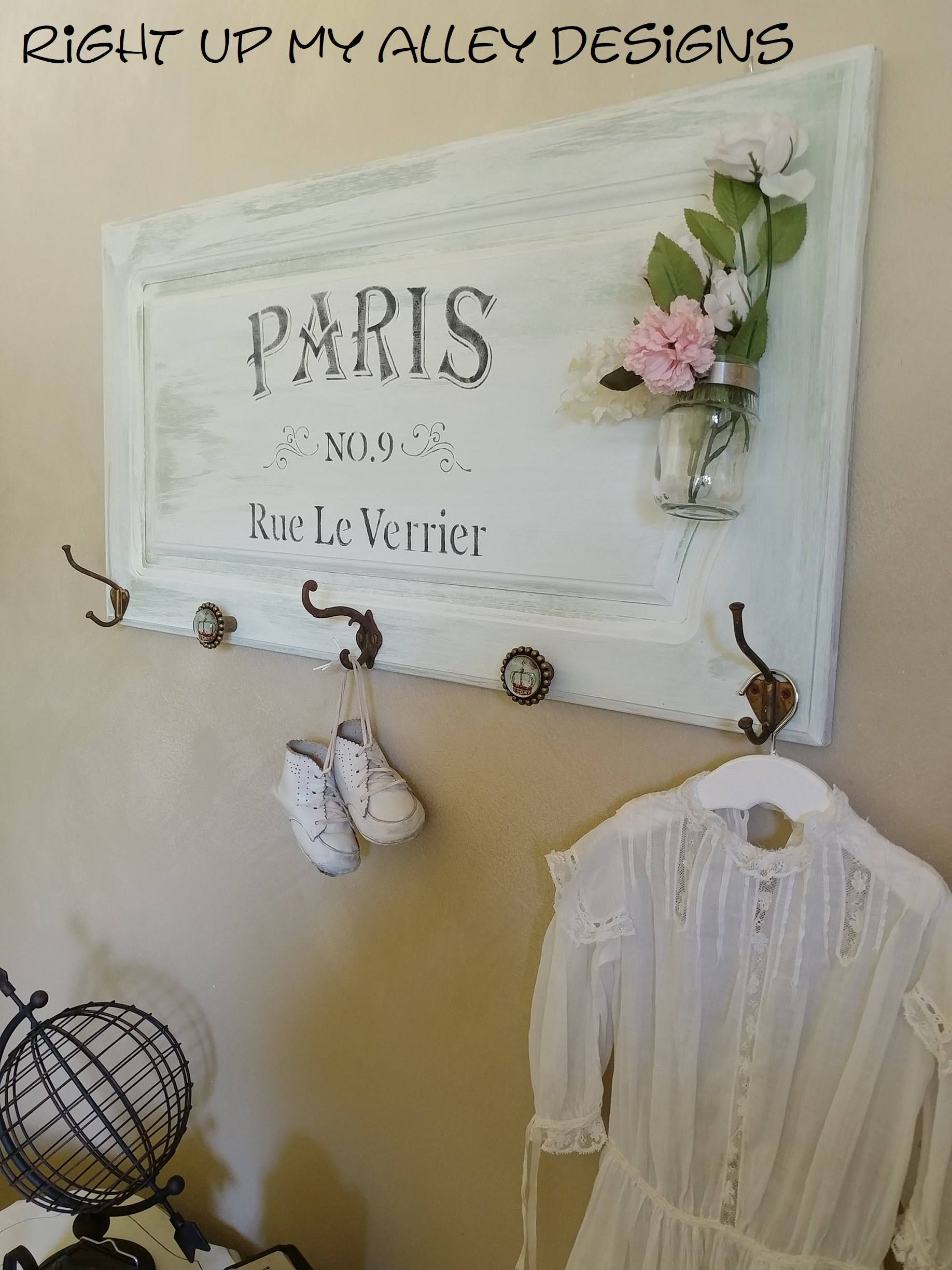 Paris Plaque Wall Decor Coat Hook Wall Hanging By Rightupmyalleydesign On Etsy Wall Decor Bedroom Wall Hanging Wall Decor