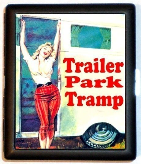 Trailer Park Tramp Cigarette Case ID Business Card Holder Rockabilly Pulp Humor Kitsch
