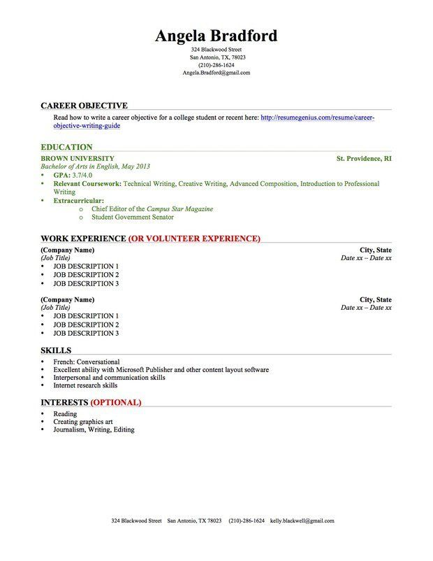 College Student Resume Education Work Experience Bizz - resume objective for graduate school