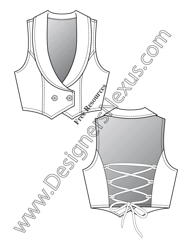 V20 Back Lacing Vest Flat Fashion Sketch Template - FREE Download in ...