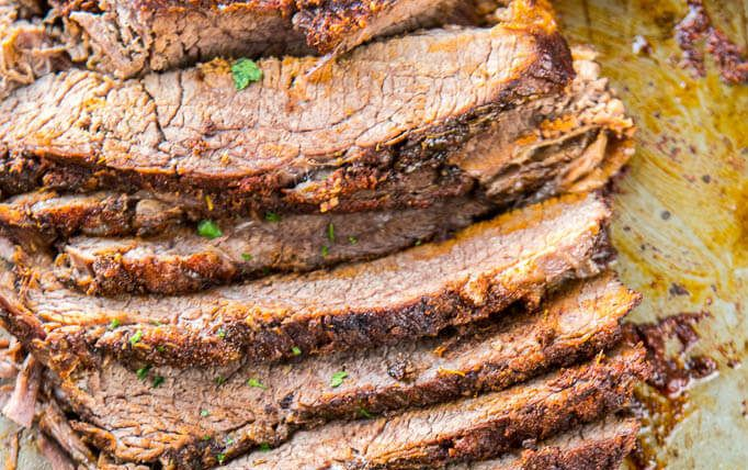 Ingredients       	4 pound trimmed flat brisket   	3 tablespoons brown sugar   	2 teaspoons chili powder   	2 teaspoons smoked paprika   	1 teaspoon kosher salt   	1 teaspoon garlic powder   	1 teaspoon onion powder   	1 teaspoon dried thyme   	1/4