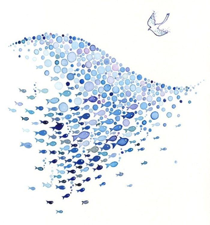 Aquarell Fisch Bild Von Elfenbaum Auf Paintings Drawings