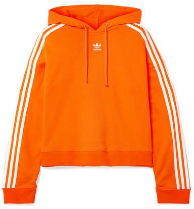 adidas Cropped Striped Cotton terry Hoodie Orange   Want