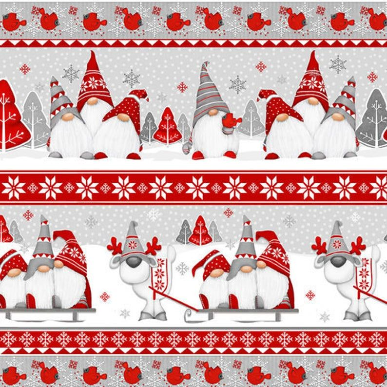 Flannel Fabric, Winter Whimsy, Gnomes, Novelty Stripes