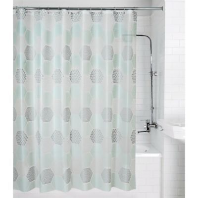 Allure Home Creation Hexagon Peva Shower Curtain In Teal Grey