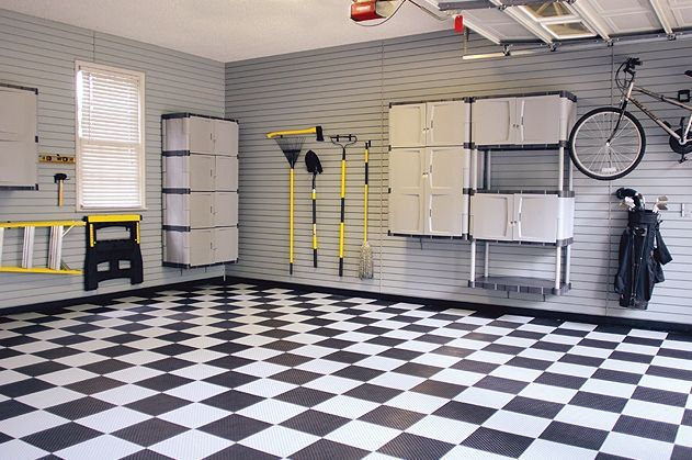 inside garage ideas | garage designs: great white black grey