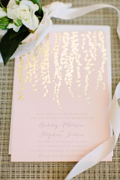 Light Blush Pink Gold Foil Wedding Invitations Megan Clouse Photography