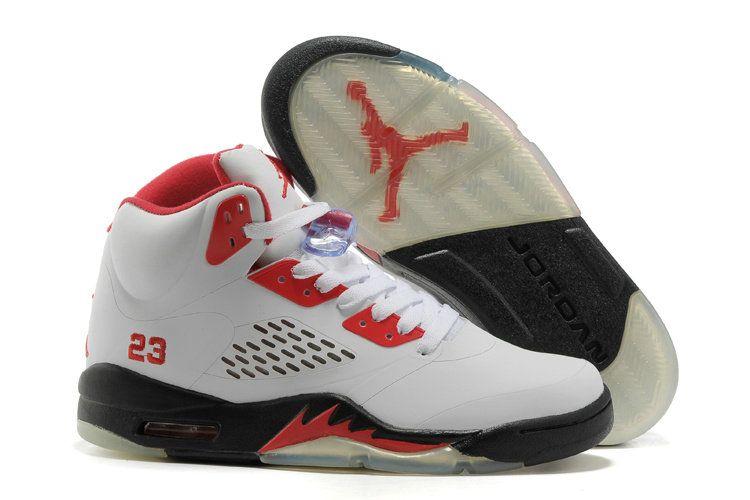 d85b2bf45fc2a9 Young Big Boys Air Jordan V 5 White Fire Red Black