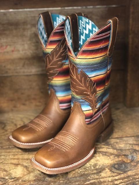 Ariat Women's Circuit Autumn Tan & Serape Feather Square Toe Boots 10025050 15