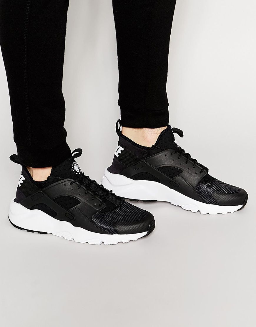 a12fe52e9c383 Nike Air Huarache Mens Run Ultra Black and White Trainers Sale UK ...