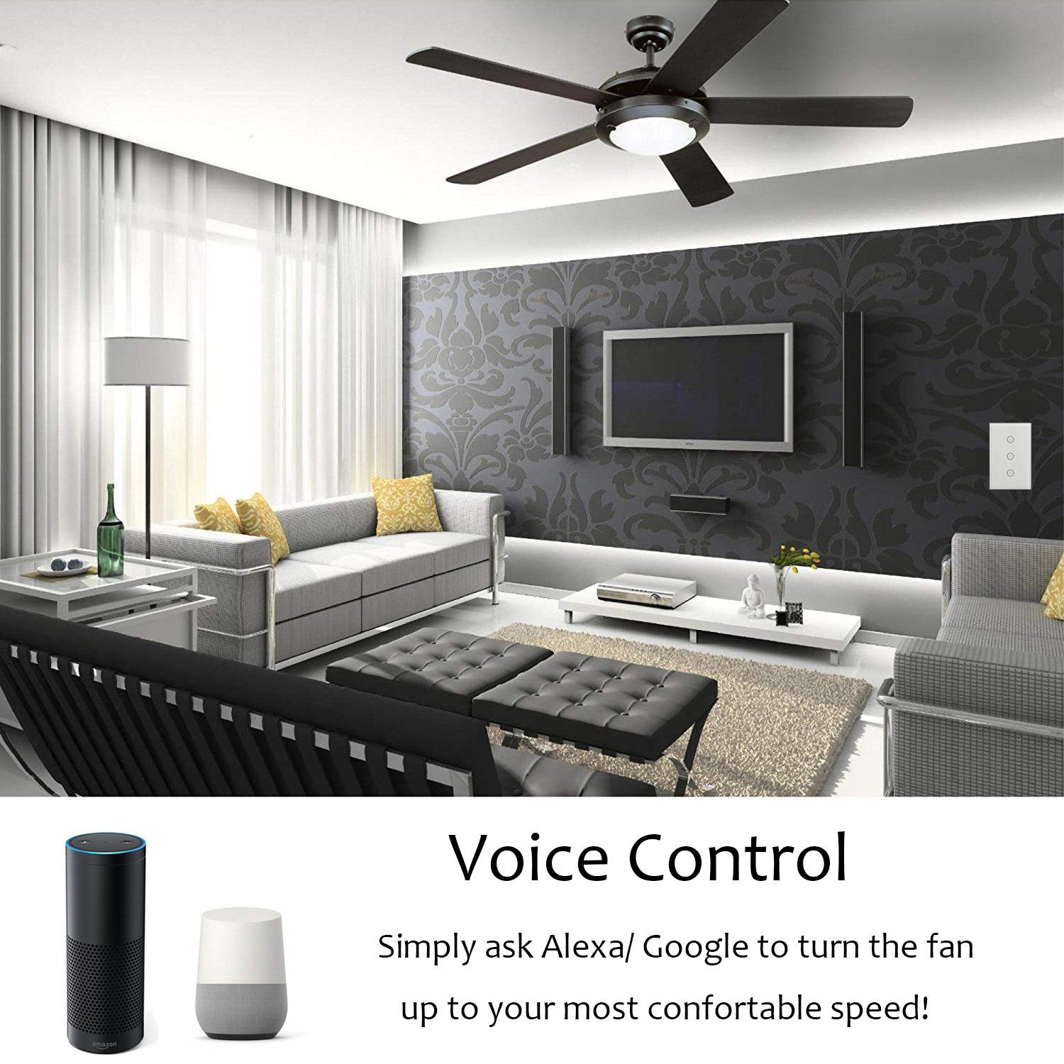 Smart Fan Speed Control Compatible with Alexa and Google