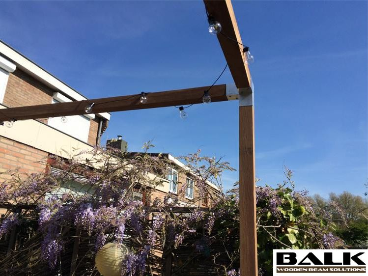 Pergola Construction Made With Balk Connectors Couplings Joints Fittings Corner Pieces For Wooden Beams Frame Design Aluminium Design Wooden Beams
