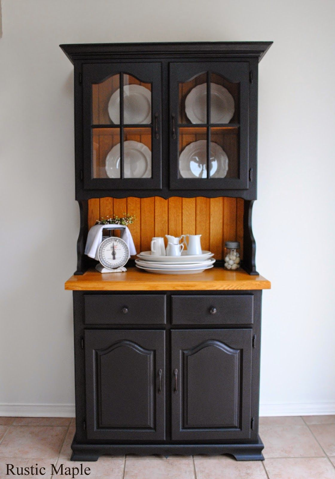 White Kitchen Hutch Buffet oak buffet and hutch with fusion mineral paint in coal black