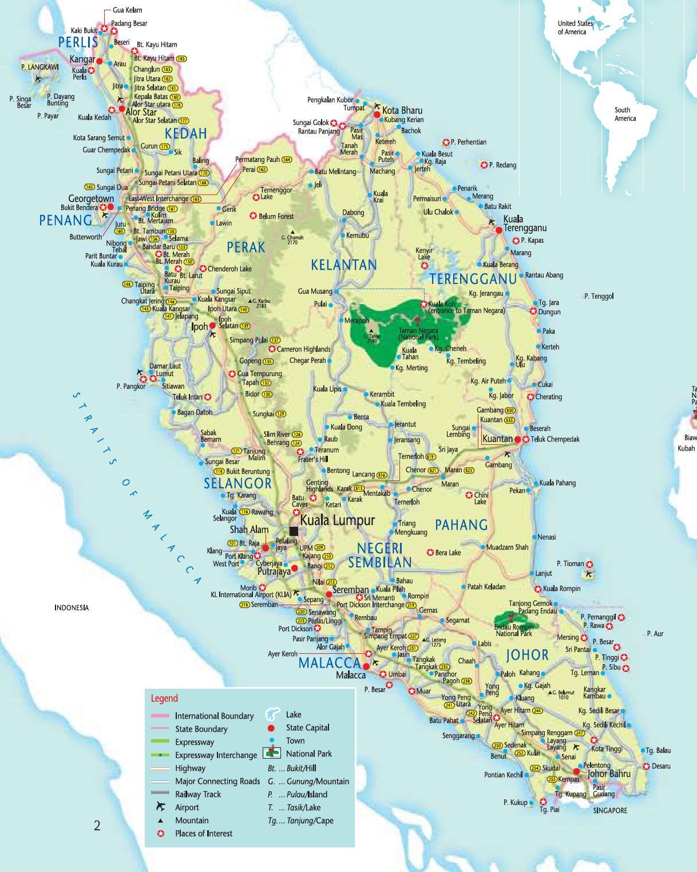 Peninsular Malaysia Map Malaisie Carte Carte Du Monde Malaisie