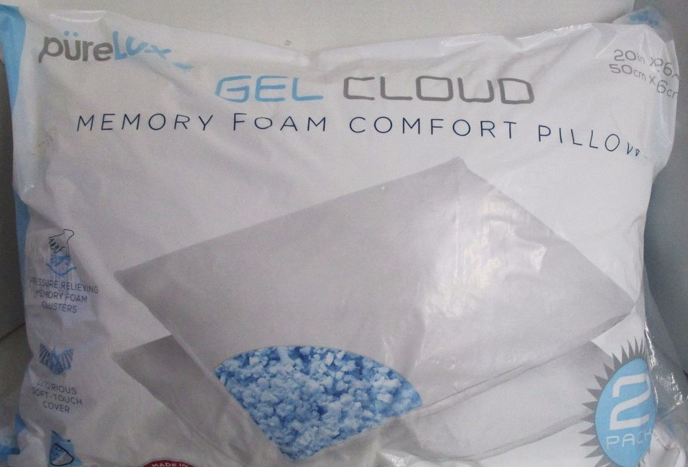 Pure Lux Gel Cloud Memory Foam Comfort Pillows 2 Pk Luxurious Soft