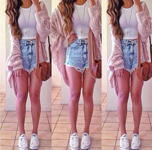 Light wash high waisted shorts  wrap & sneakers | Festival Outfit ...