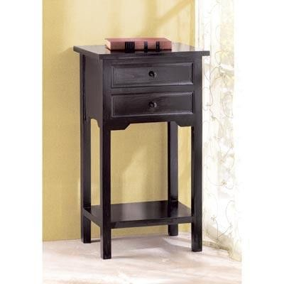 Two Drawer Black Wooden Side Table - This simple yet elegant Two Drawer Black Wooden Side Table is finished with a black stain that allows the beauty of the pine wood to show through.