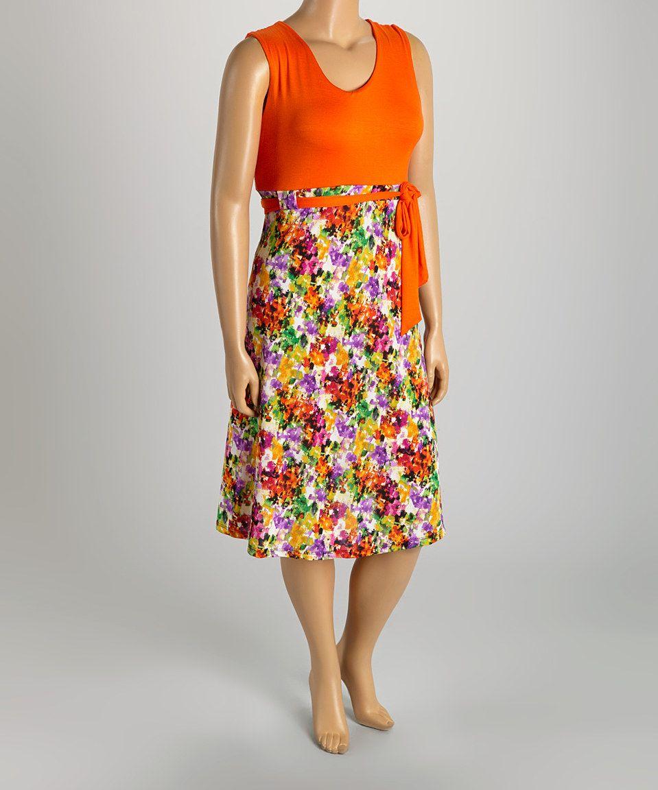 Orange & Purple Abstract Floral Sleeveless Dress - Plus by GLAM #zulily #zulilyfinds